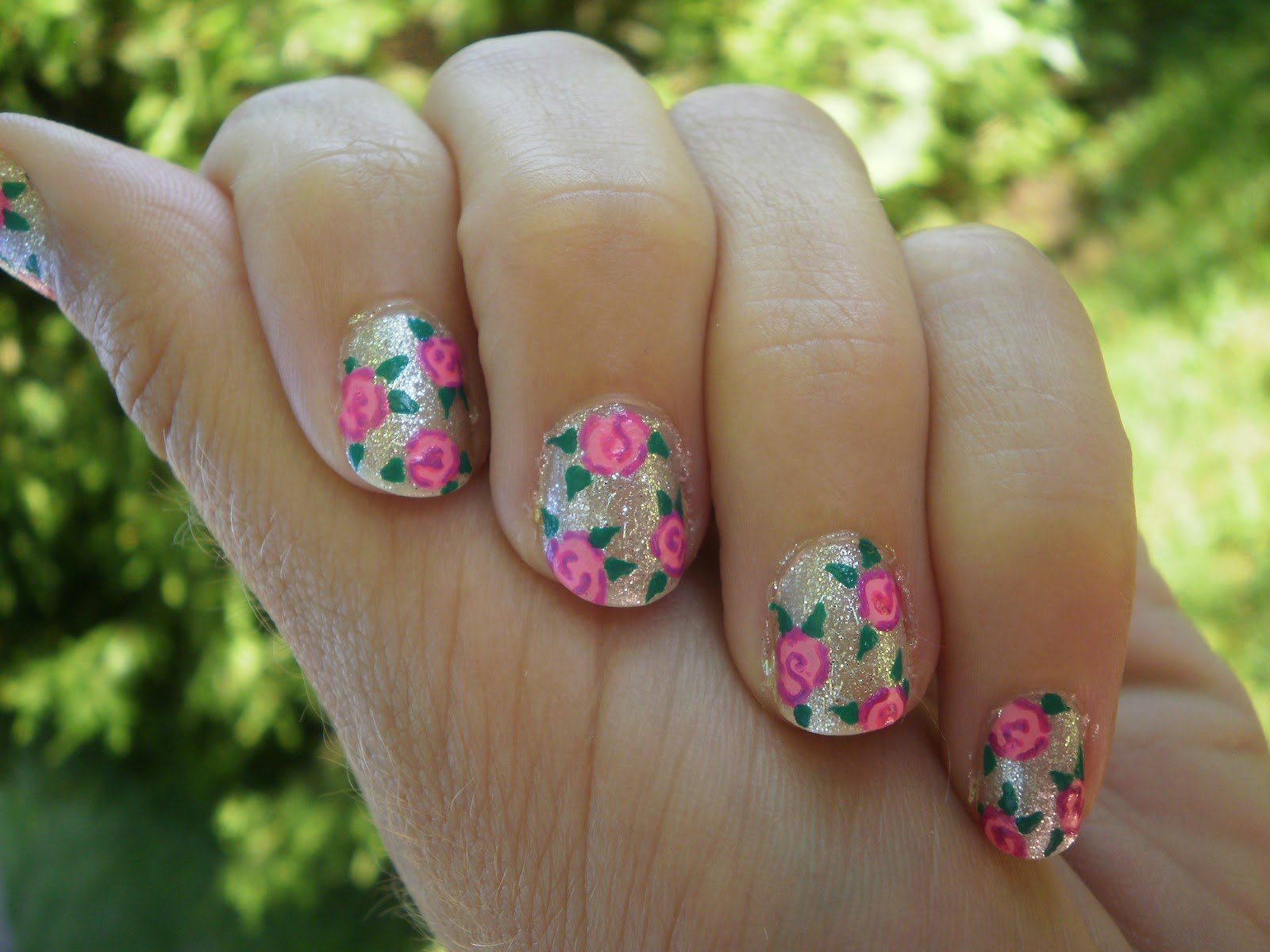 Crazy About Nails: Tutorial - rose nails