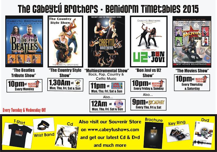 The Cabeytú Brothers Benidorm Timetables 2015