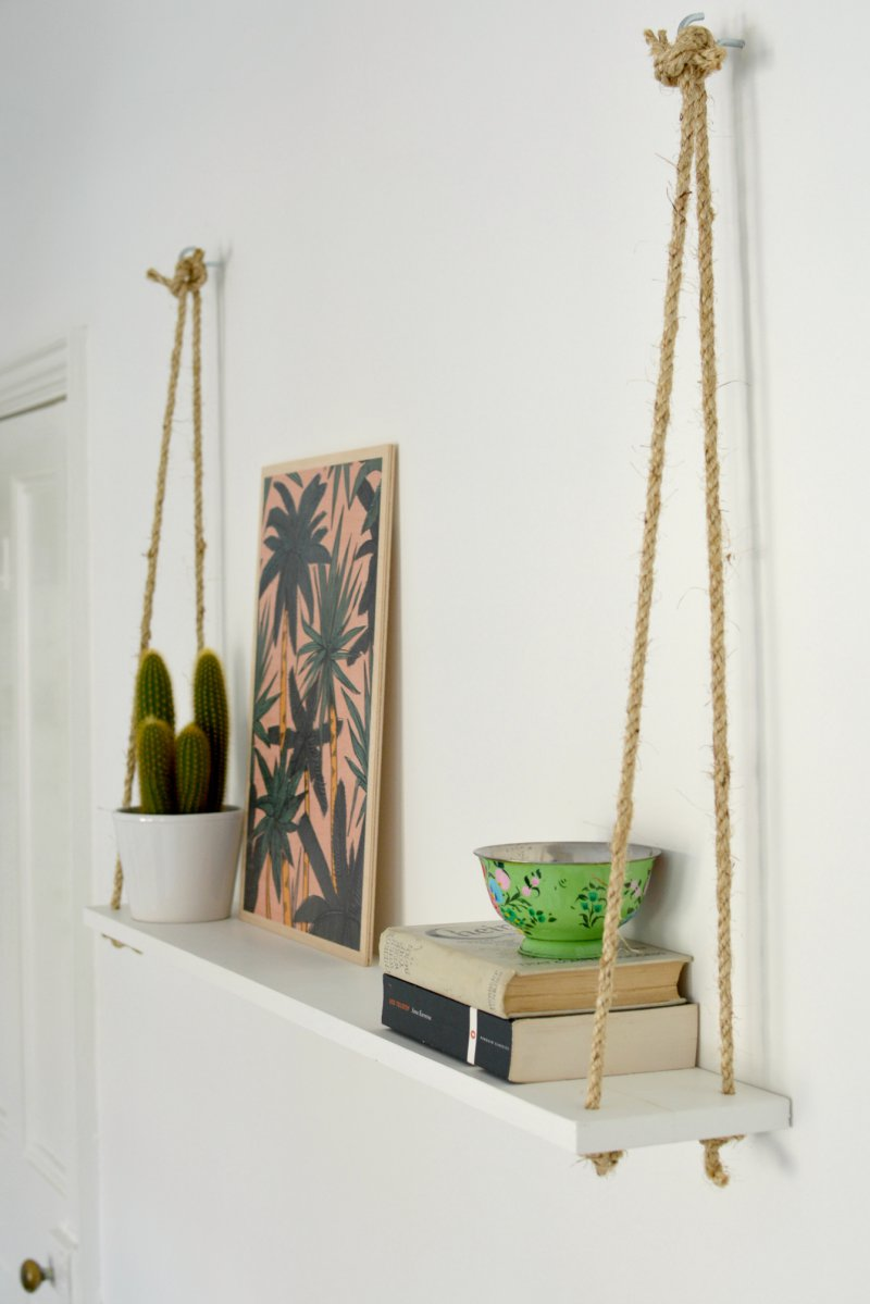 Diy easy rope shelf burkatron for Easy diy shelves