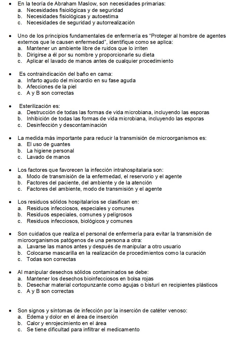 CLASES FUNDAMENTOS DE ENFERMERIA: Preguntas de Examen