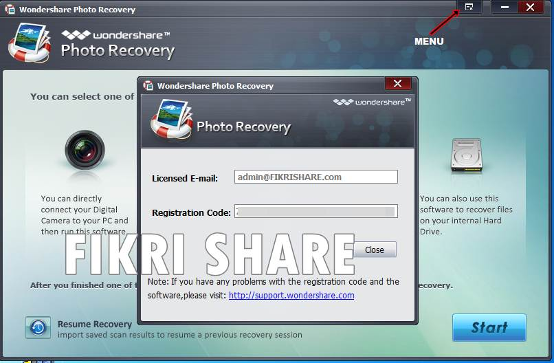 code wondershare photo recovery