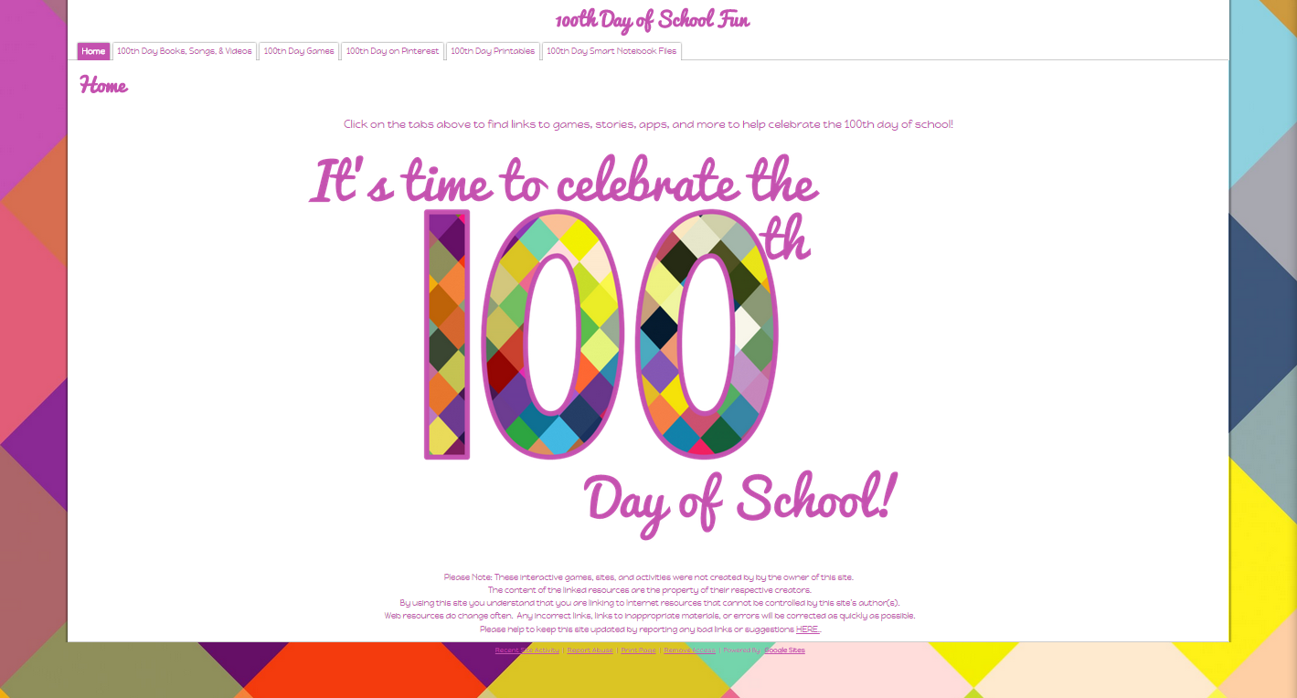 100th Day of School Border on my 100th Day of School