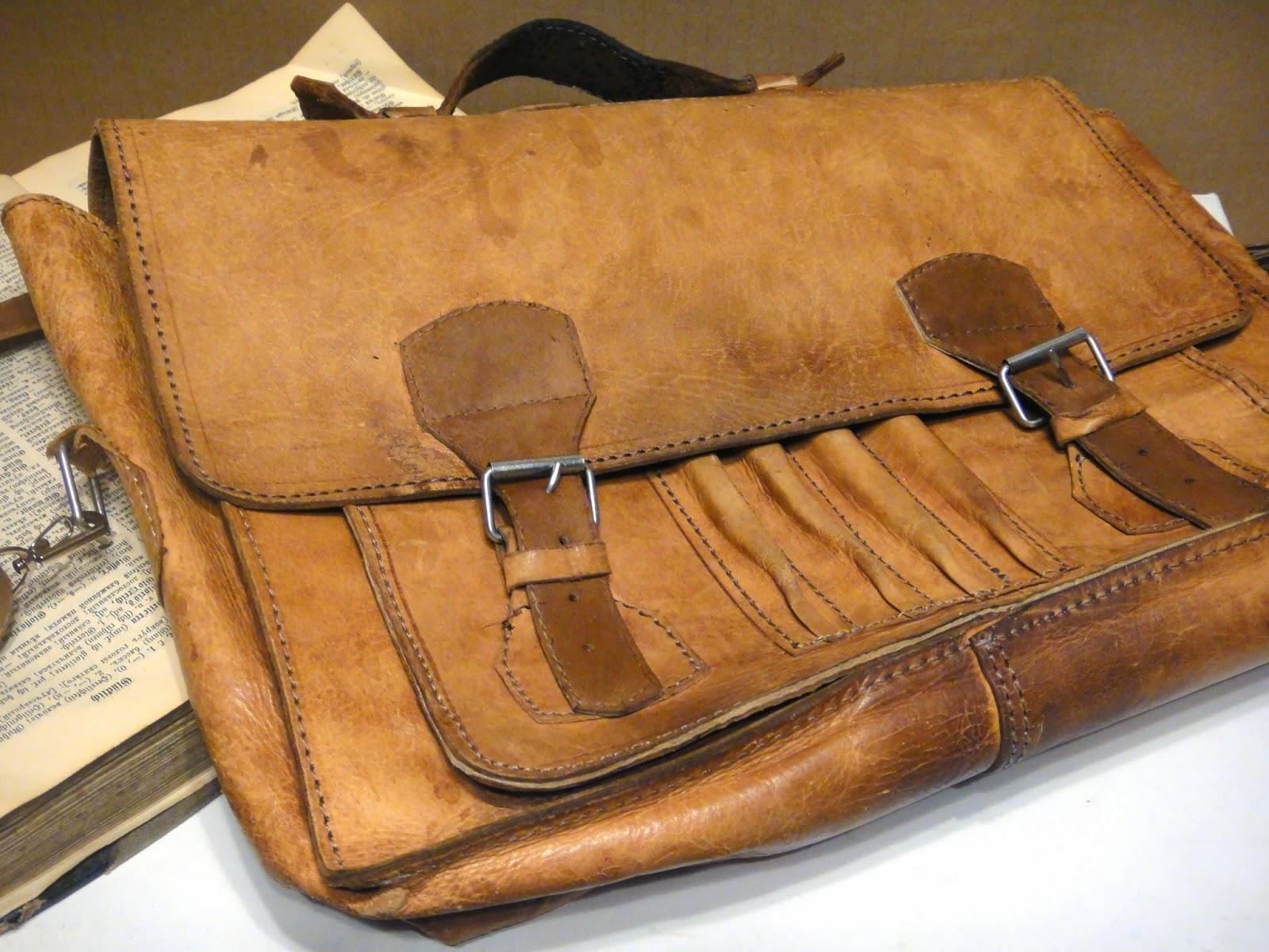 ретро портфель кожаный