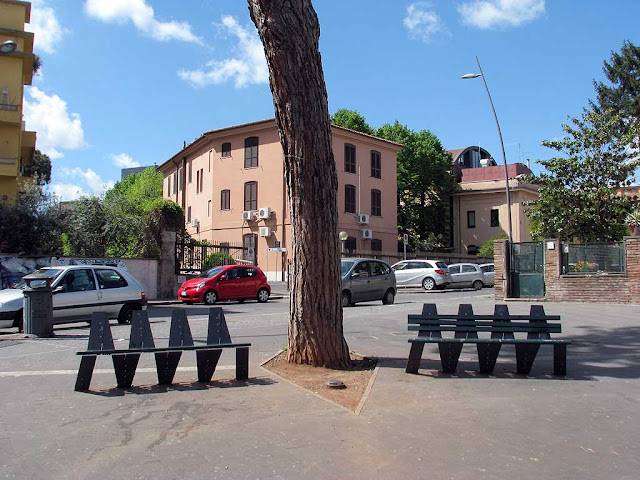 Benches in piazza di Sant'Eurosia, Garbatella, Roma