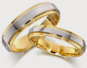 Cincin kawin emas putih campur emas kuning