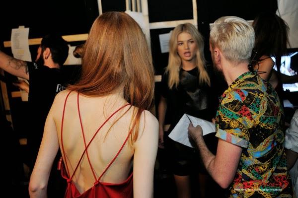 Model Madison Stubbington with Mitch Stead, backstage waiting to walk for Watson x Watson, MBFWA. Photograph by Kent Johnson.