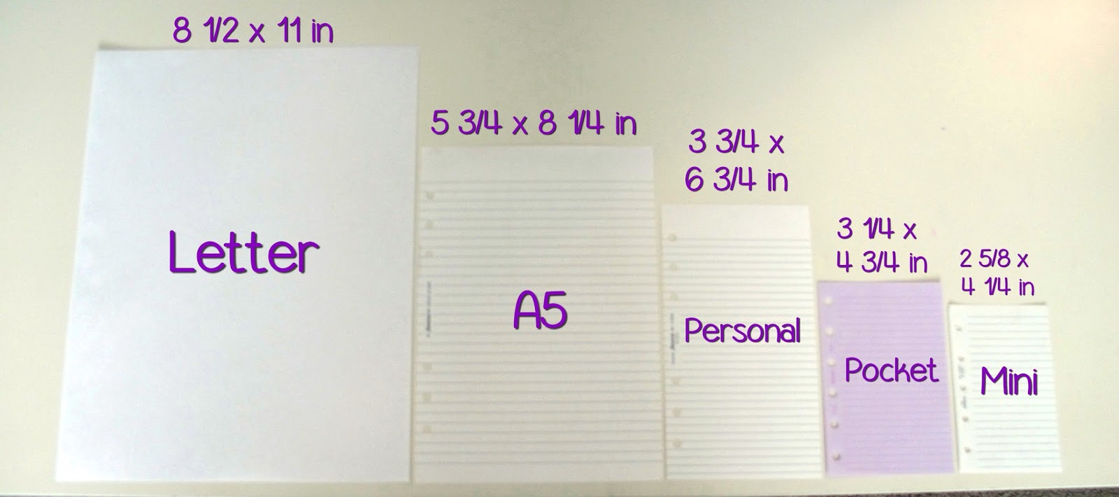 How to choose inserts refills for a filofax for Letter paper size in inches