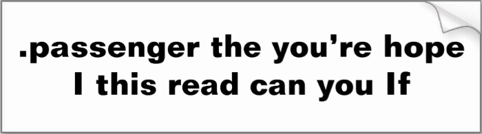 http://www.zazzle.com/passenger_the_you_re_hope_i_this_read_can_you_if_bumper_sticker-128171150313372981
