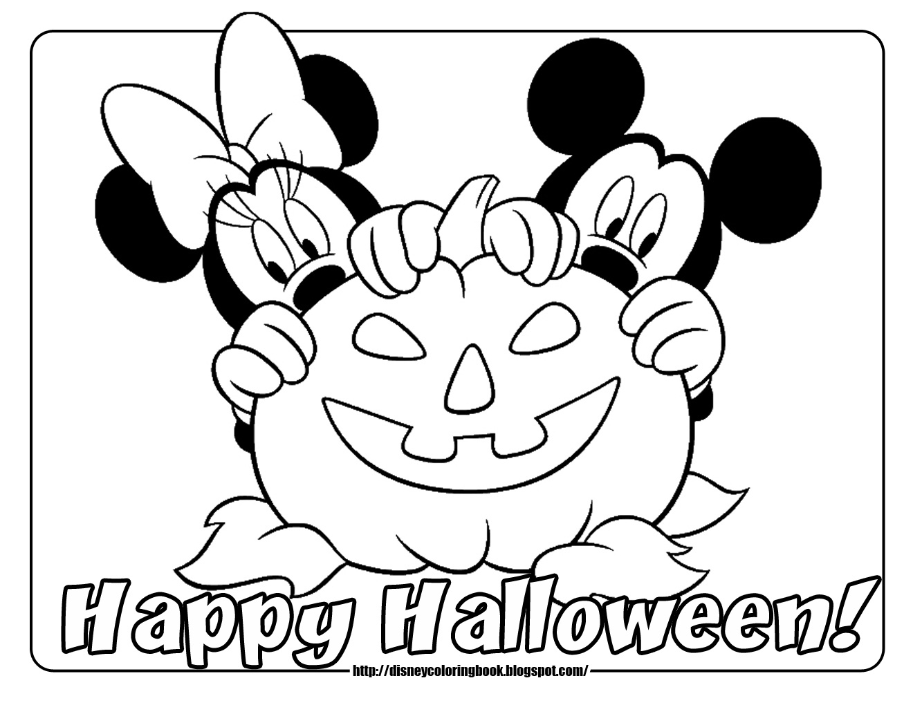 Halloween Coloring Pages Mickey Mouse Minnie Pumpkin