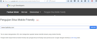 Cara Check Template Responsive Atau Tidak Melalui Pengujian Situs Mobile Friendly Google developer