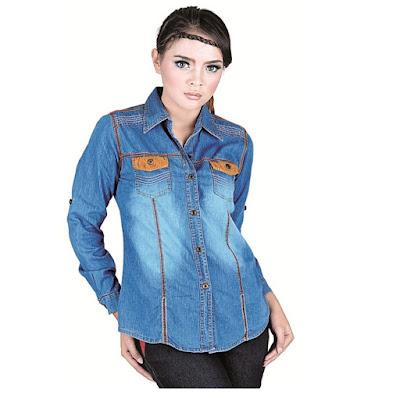 model kemeja jeans wanita modern modis