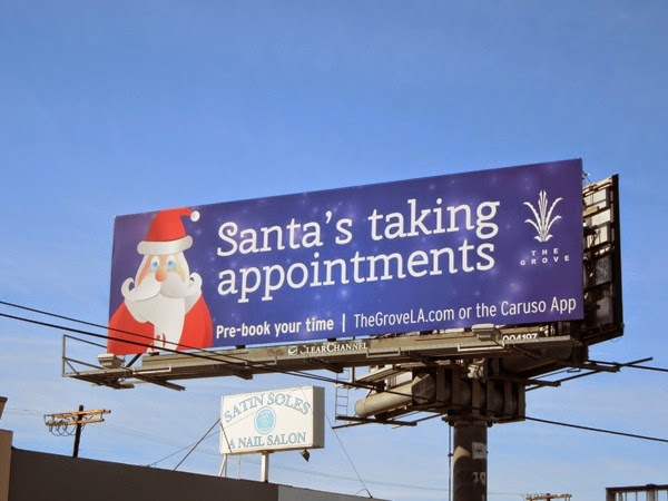Santas taking appointments The Grove billboard