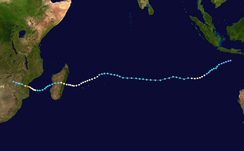 Trajectoire du cyclone tropical intense Eline