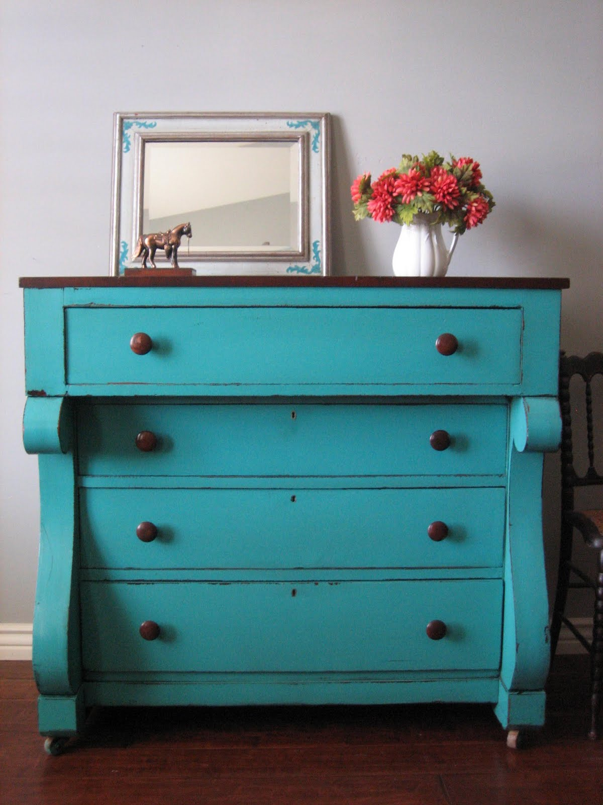 European Paint Finishes Teal Chest of Drawers