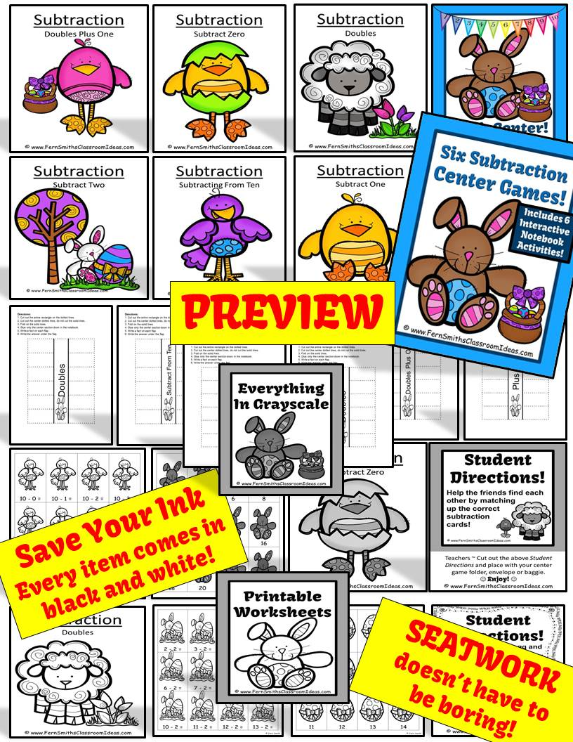 Fern Smith's Classroom Ideas Easter Subtraction Centers, Printable Seatwork Centers and Foldables
