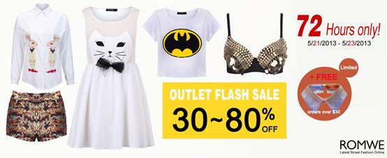 Romwe Outlet Flash Sale!  Up To 80% OFF!  200+ styles!