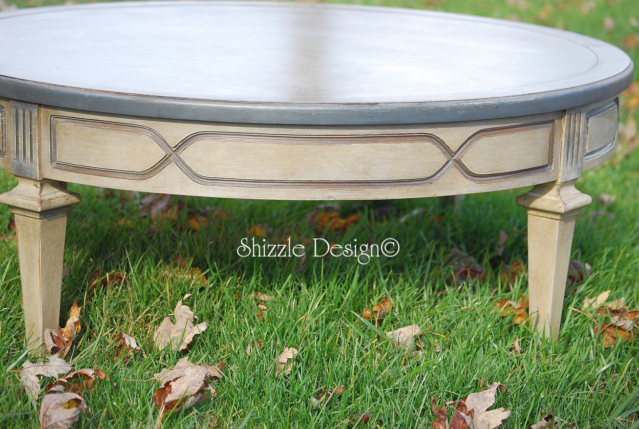 aspen painted oak sage grey 2 drawer coffee table. . hand painted