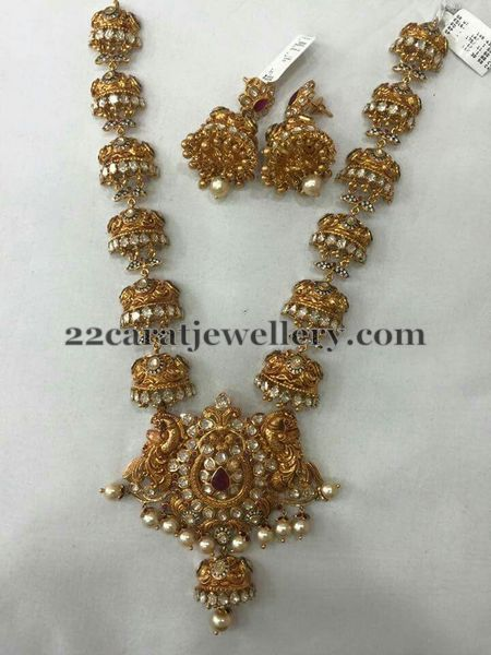 Jhumkas attached Long Chain