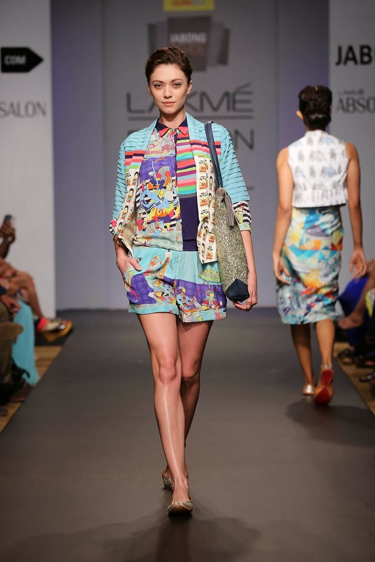 Carefully constructed and detailed, each piece was contoured with gathers, piping, colour blocking, unique prints which ranged from traditional motifs such as elephants to caricatures of Indian couples for a fresh, youthful appeal. Perfect for an urban chic buyer 'QUIRKBOX' by Rixi Bhatia and Jayesh Sachdev is sure to fly off the racks.