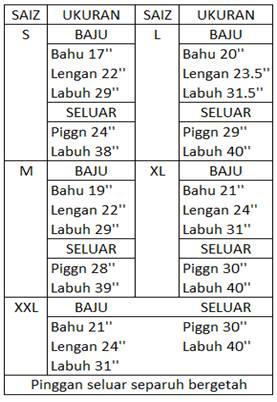 Saiz Baju Melayu