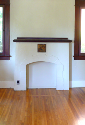 traditional craftsman bungalow fireplace oak wood floors, Douglas Fir window trim