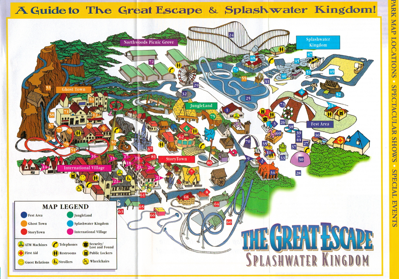 i also wanted to throw in the park's map from  as well i hate to benegative but this map is kinda awful i'm pretty sure that individuals didexist . newsplusnotes from the vault great escape  brochure  map