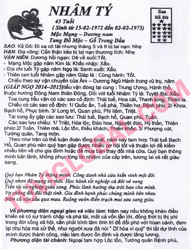 TỬ VI TUỔI NHÂM TÝ 1972 NĂM 2014 GIÁP NGỌ - Blog Trần Tứ ...