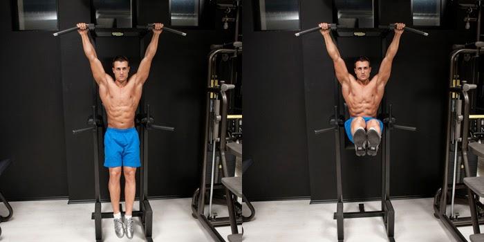 رفع الساقين من التعلق لتدريب عضلات البطن
