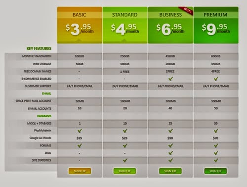 Hosting Package Pricing Table PSD