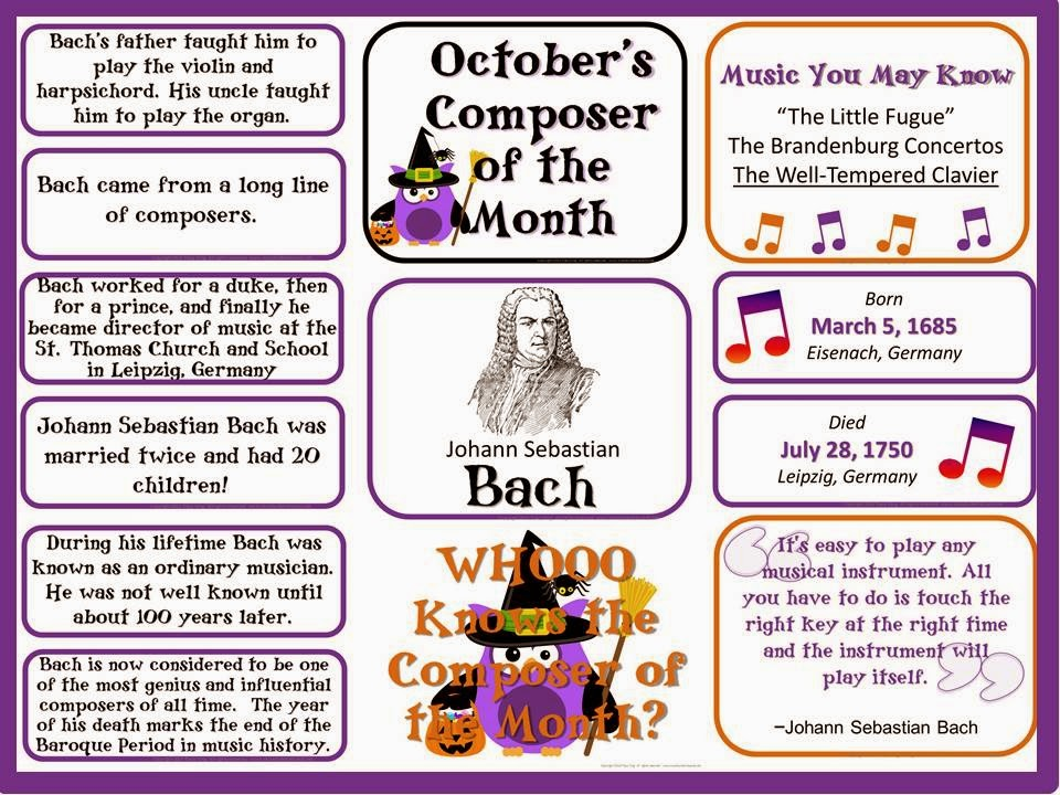 http://www.teacherspayteachers.com/Product/Bach-Composer-of-the-Month-October-Bulletin-Board-Kit-801148