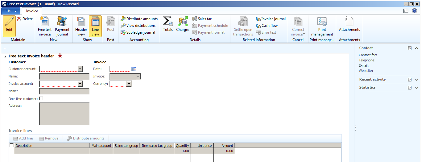 click on free text invoice button to create new free text invoice