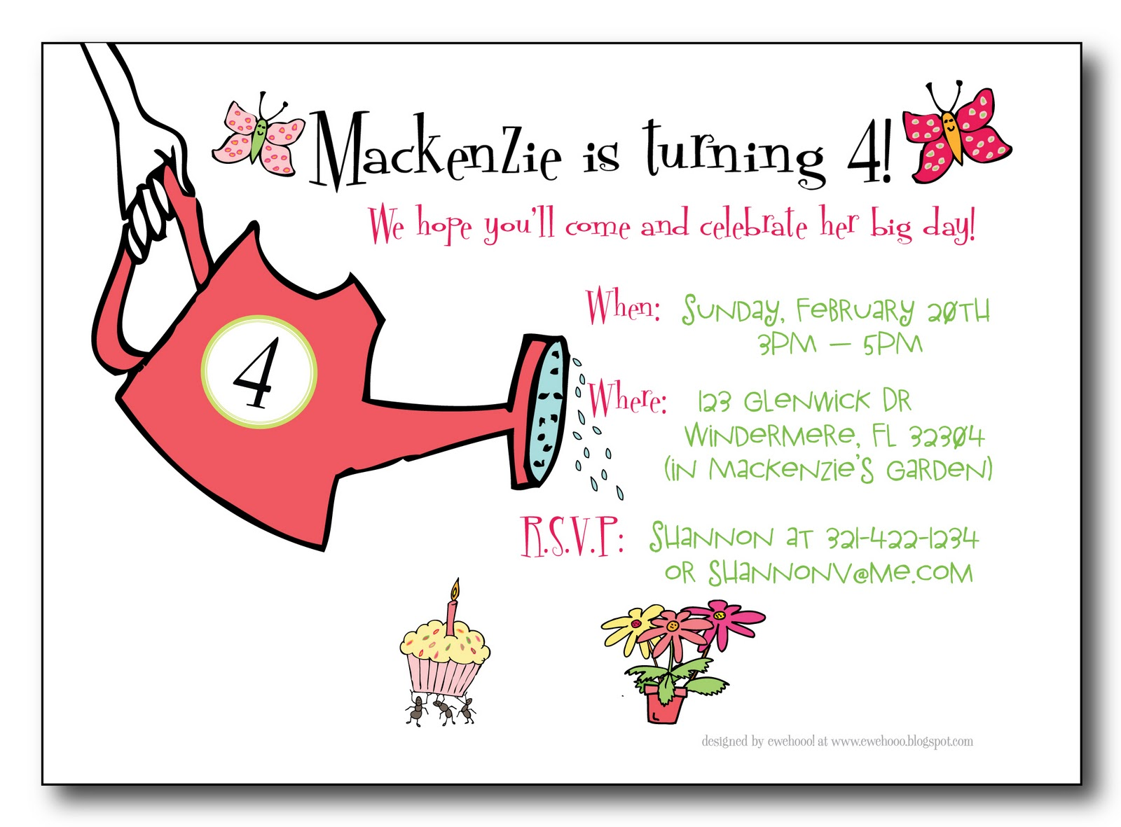 ewe hooo A Garden Birthday Party for Mackenzie – Garden Birthday Party Invitations
