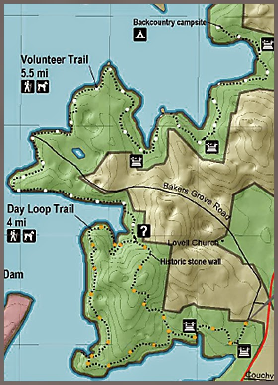Trail Map, Volunteer Trail Long Hunter State Park