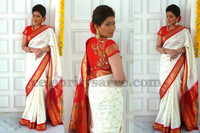 Shreedevi Chowdary Traditional White Saree