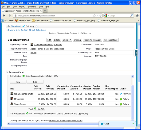 Value of Opportunity Product Split for Elaine displayed in RevenueCloud™ Opportunity Splits Interface