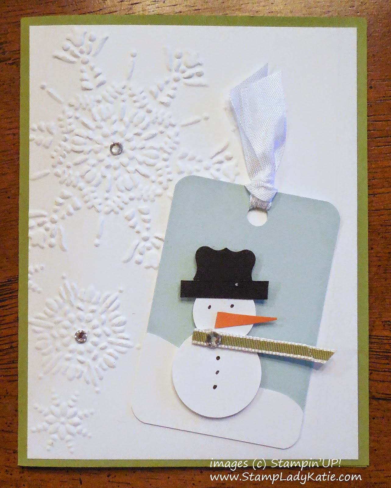 Punch art snowman card made with Stampin'UP!'s Northern Flurry Embossing Folder