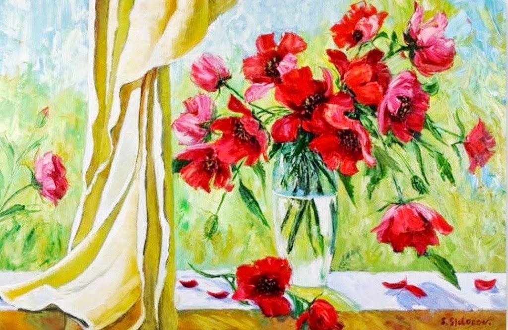 cuadros-modernos-al-oleo-pintados-a-espatula+flores