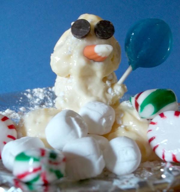 Homemade Edible Snowman: Think Mint Chocolate Chip Ice Cream.