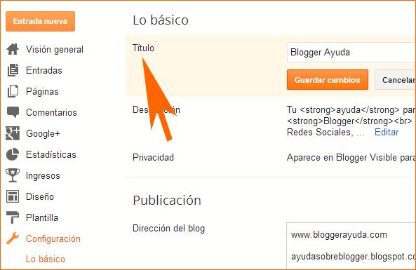 Cómo modificar el título del blog en blogger