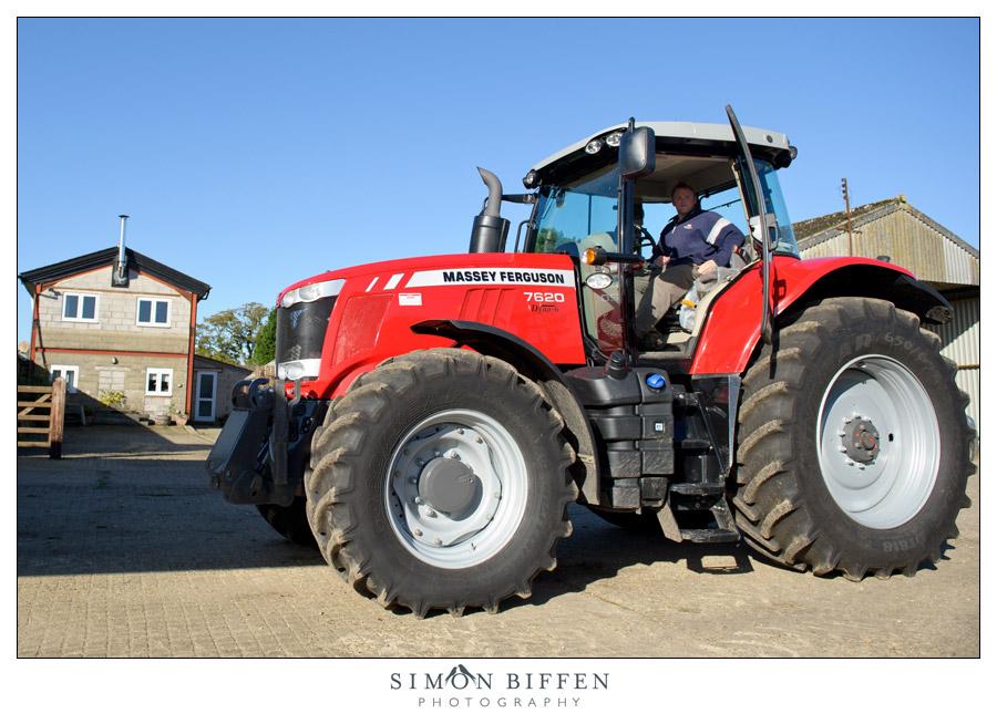 Farm wedding tractor - Simon Biffen Photography