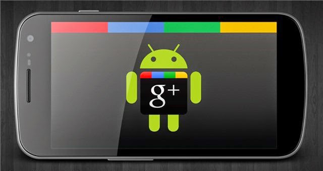 An Android phone with an image of the Android robot at the Google+ icon.