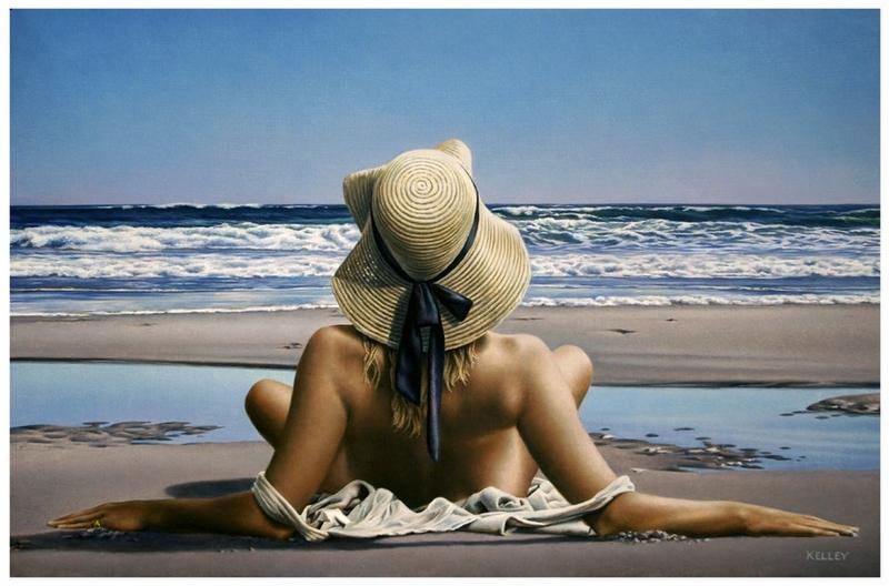 D.W.C. Woman on the Beach - Painter Paul Kelley