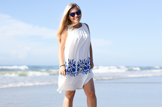 blue and white sun dress