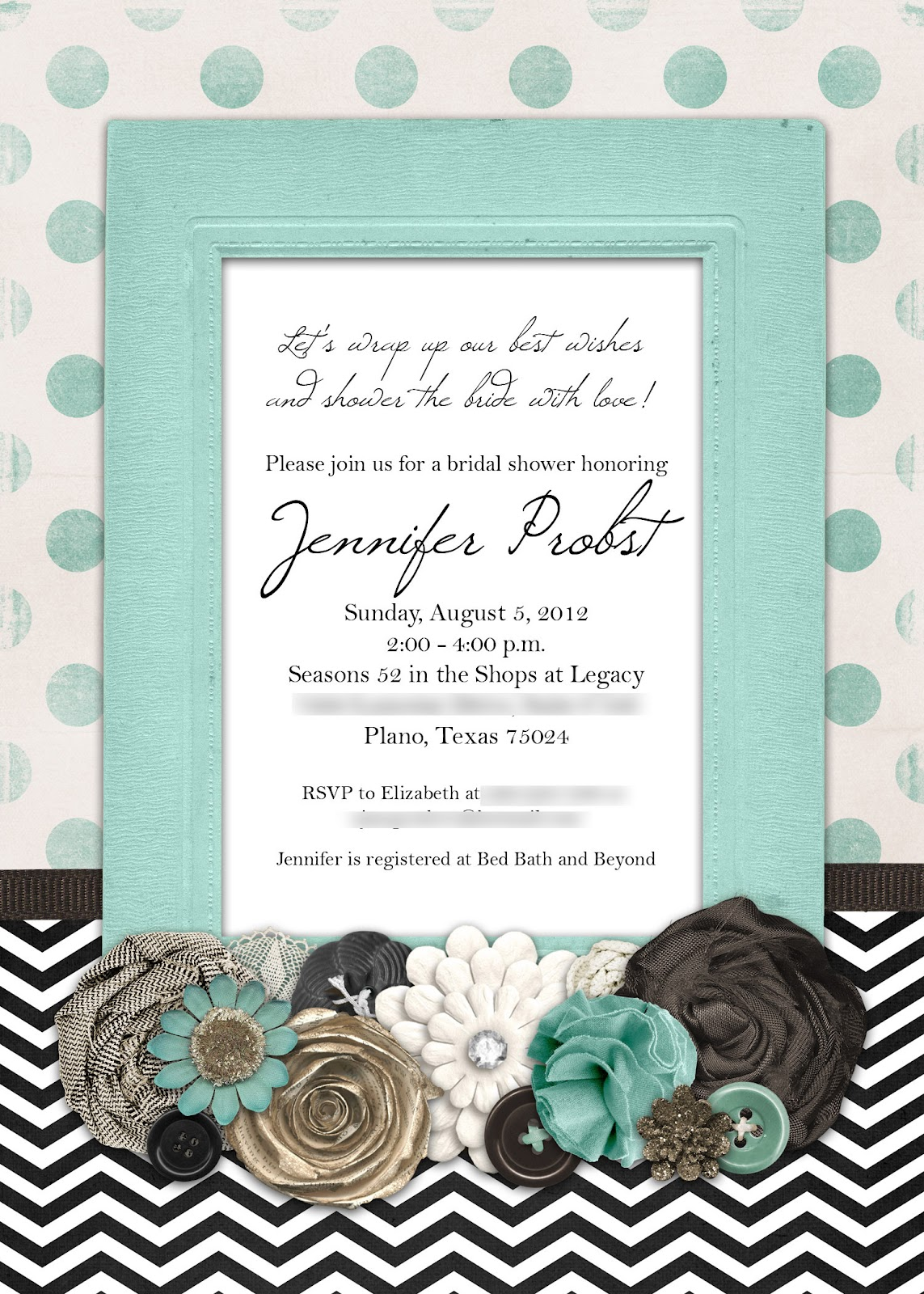 Slightly Askew Designs Jennifer Tiffany Blue Shower Invitation