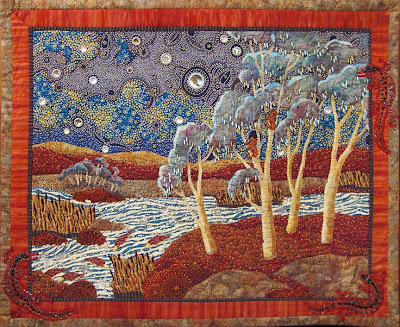 Thom Atkins, beaded quilt, Australian Dreamscape