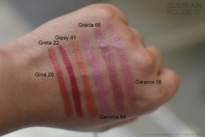 Rouge G de Guerlain Jewel Lipstick Swatches Gina 20 Greta 22 Gipsy 41 Gemma 64 Garcia 66 Garance 06 Makeup Beauty Indian Blog Photos