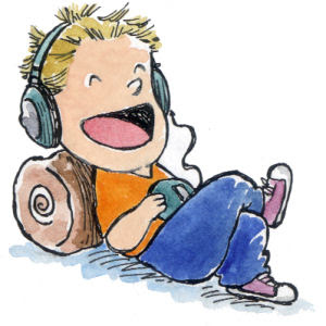 child laughing while listening to headphones