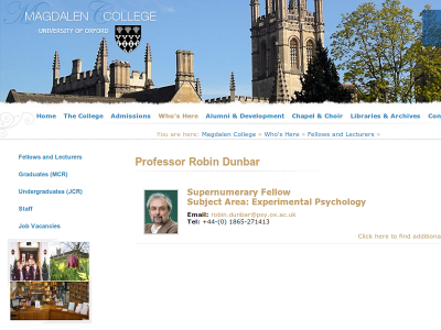 Prof Robin Dunbar