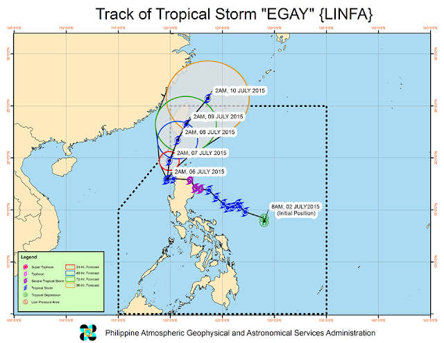 track of tropical storm Egay