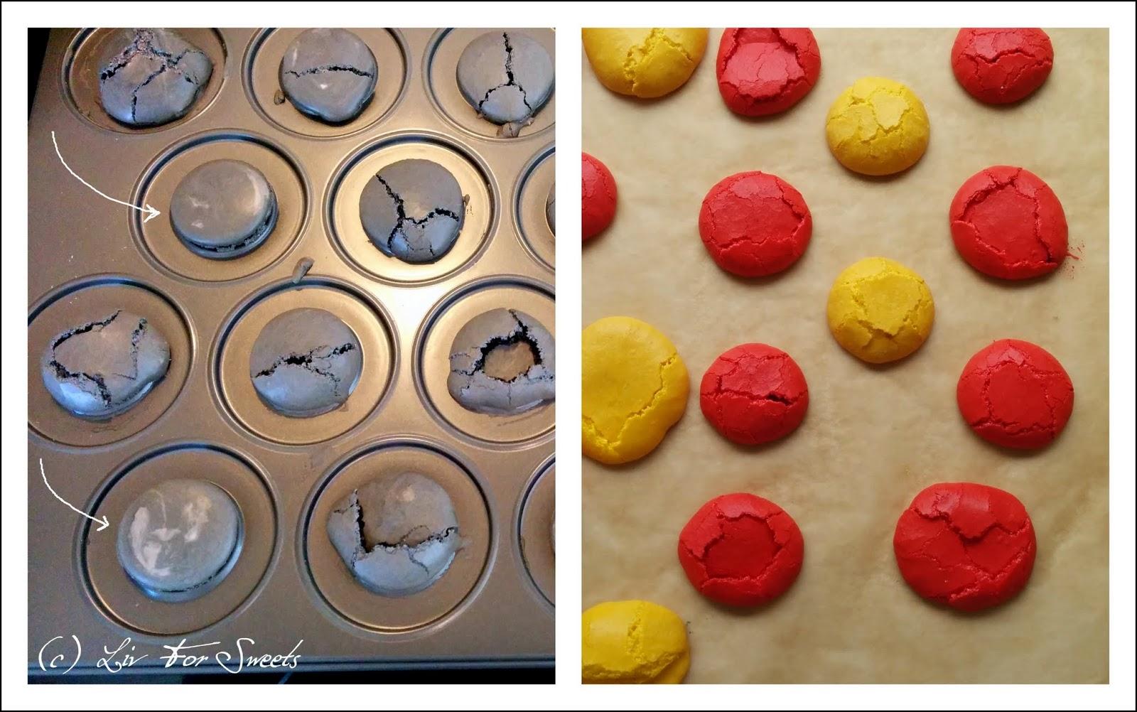fertige kaputte Macarons in schwarz, rot und gold / gelb